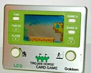 Vintage Gakken Lcd Trojan Horse Card Game And Watch Made In Japan Rare