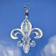 Waterford Clear Crystal Fleur De Lis Ornament With Jeweled Hanger - Free Ship