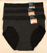 Nwt 3 Bali One Smooth U Hipster Panties 2h63 Black And White Dots Size 9/2xl