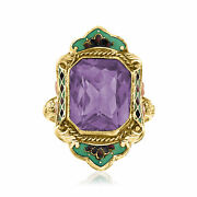 Vintage Amethyst Ring With Multicolored Enamel In 14kt Tri-colored Gold Size 5