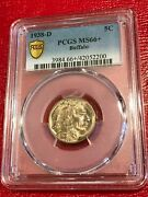 Gold Shield Pcgs Ms66+ 1938 D Buffalo Nickel Coin-old Us Coin-may160