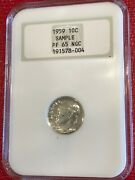 Ngc Pf65 1959 P 10c Sample Roosevelt Silver Dime-fatty Holder-old Us Coin-nov023