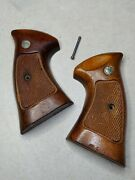 Vintage Smith And Wesson N Frame Wood Target Grips Checkered 24 25 27 28 29 57 629