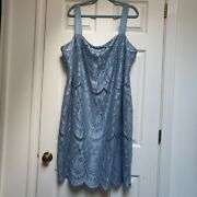 Catherines Blue Lace Sleeveless Dress Plus Size 24w Cocktail Midi Length Lined