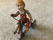 """Antique """"kiddy Cyclist"""" Wind Up Toy"""