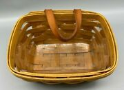 Longaberger 1999 Handwoven/hanging W/ Leather Strap And Plastic Insert S28