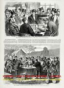 Politics Voting Fraud Methods And Importance, Large 1870s Antique Print And Article