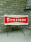 Scarce Authentic 1960and039s Firestone Tires Sidewalk / Portable Sign Rare Vintage