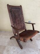 Antique Folding Leather Wood Frame Armchair Hand Tooled Embossed Aztec Peruvian