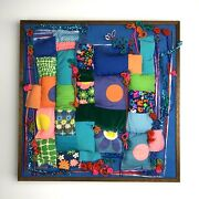 Vintage Abstract 1960s Quilted Mid-century Modern 70s Retro Wall Art Fabric Mcm