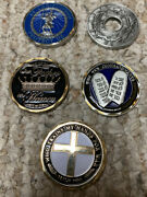 Religious Themed 5 Challenge Coin Lot St. Christopher The Ten Commandments More
