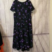 Lane Bryant Plus 28 Black And Purple Floral High/low Dress Nwt Free Ship Awesome