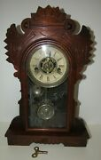 Antique Waterbury Small Kitchen Mantel Clock With Alarm 30-hour, Time/strike