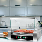 Commercial 11 Roller 30 Hot Dog Grill Cooker Machine Stainless Steel W/ Cover Ce