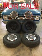 """4 1967 1968 Chevy Truck C10 Original 15"""" Steel 6 Lug Wheels Hubcaps And Tires"""