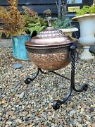 Superb 19th Century Coal Scuttle Ember Pan Copper Wrought Iron Country House
