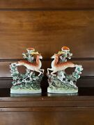 Antique Staffordshire Stag And Hound Spill Vases A Pair