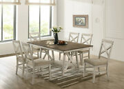 Vintage Cream Smooth Rectangular Table 6 Chairs Upholstery 7pc Dining Room Set