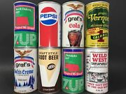 Set Of 8 Different Vintage 12 Oz Soda Cans Straight Steel Empty Pull Tab Lot