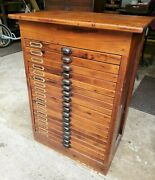 Antique Industrial 19th Century 18 Drawer Map Document Arts Pine Filing Cabinet