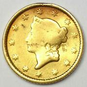 1853 Liberty Gold Dollar G1 - Fine Details - Rare Early Coin
