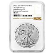 Presale - 2021 S 1 Type 2 American Silver Eagle Ngc Ms69 Emergency Production