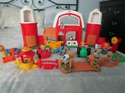Fisher Price Little People Farm Play Set Barn Silos And Tractor Animal Lot Works