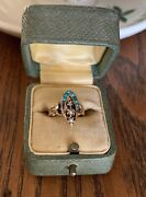 Antique Victorian 10k Rose Gold Turquoise Navette Pearl Geometric Pinky Ring