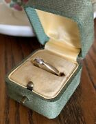 Antique Victorian 14k Gold Rose Cut Diamond Foiled Chunky Band Engagement Ring