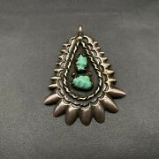 Vintage Navajo Native Turquoise Sand Cast Hand Stamped Sterling Silver Pendant
