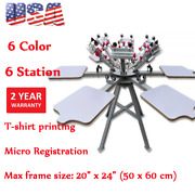 Us Stock 6 Color 6 Station Screen Printing Press Machine With Micro Registration