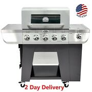 5 Burner Propane Gas Grill 3-in-1 Stainless Smoker Bbq With Side Burner