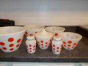 Fire King Red Dot Complete Set 4 Bowls, Grease Jar And Lid, Saltand Pepper Shakers G