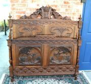 French Antique Carved Oak Brittany Full Size Bed With Rails