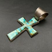 Large Vintage Navajo R Chee Mosaic Turquoise Cross Sterling Silver Pendant