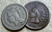 1874 Coin Lot Indian Head Penney Nickel Three Cent Piece Old Us 1c 3c Collection