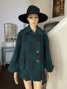 Anthropologie Cartonnier Green Wool Checker Table Cape Coat Jacket Size S