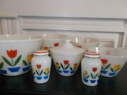 Fire King Tulips Complete Set 4 Bowls, Grease Jar And Lid, Salt And Pepper Shakers