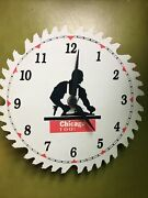 Vintage Chicago Tool Company Advertising Saw Blade Porcelain Metal Clock Sign