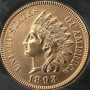 1893 Indian Head Penny 4 Diamonds Gorgeous Pennycleaned