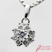 Necklace With Pendant Flower Blumenmuster 585/14k White Gold Diamonds 15 11/