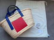 Authentic Loewe Basket Bag In Palm Leaf And Calfskin Blue And Red