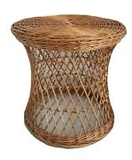 Vintage Woven Wicker Rattan Round Drum Table Pedestal Plant Stand Boho Chic Cane