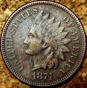 1874 Indian Head Cent - Almost Unc, 4th Diamond Visible, Free Shipping M220