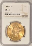 1900 20 Gold Liberty Double Eagle Coin Ngc Ms62 Pre-1933 Gold