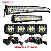 52inch Curved Led Light Bar+4''pods Brackets Kit For Jeep Cherokee Xj 1984-2001