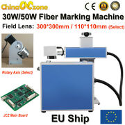 Portable 30w/ 50w Fiber Laser Marking Machine For Metal Steel Split Androtary Axis
