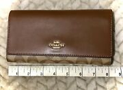 New Wt Coach Wallet In Signature Leather Brown/khaki/saddle/gold Checkbook Fold