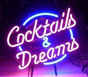 New Cocktails And Dreams Neon Signs Art Wall Lights Beer Bar Club Decor Us Stock
