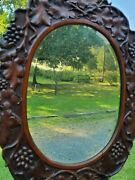 Victorian Period Hand Carved Solid Walnut Beveled Glass Mirror - Signed - J. K.